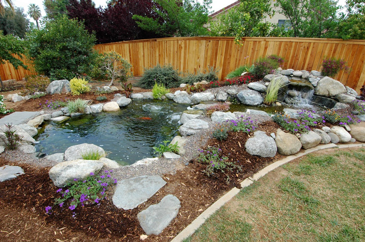 Professional construction the pond digger for Small garden with pond design