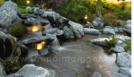 The pond digger pond supplies waterfalls koi pond for Pond waterfall construction